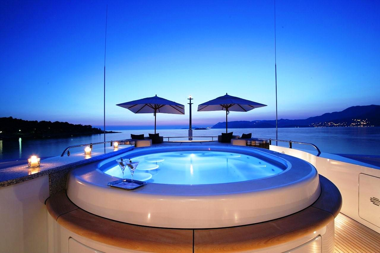 luxury yacht AMNESIA's jacuzzi pool and sundeck