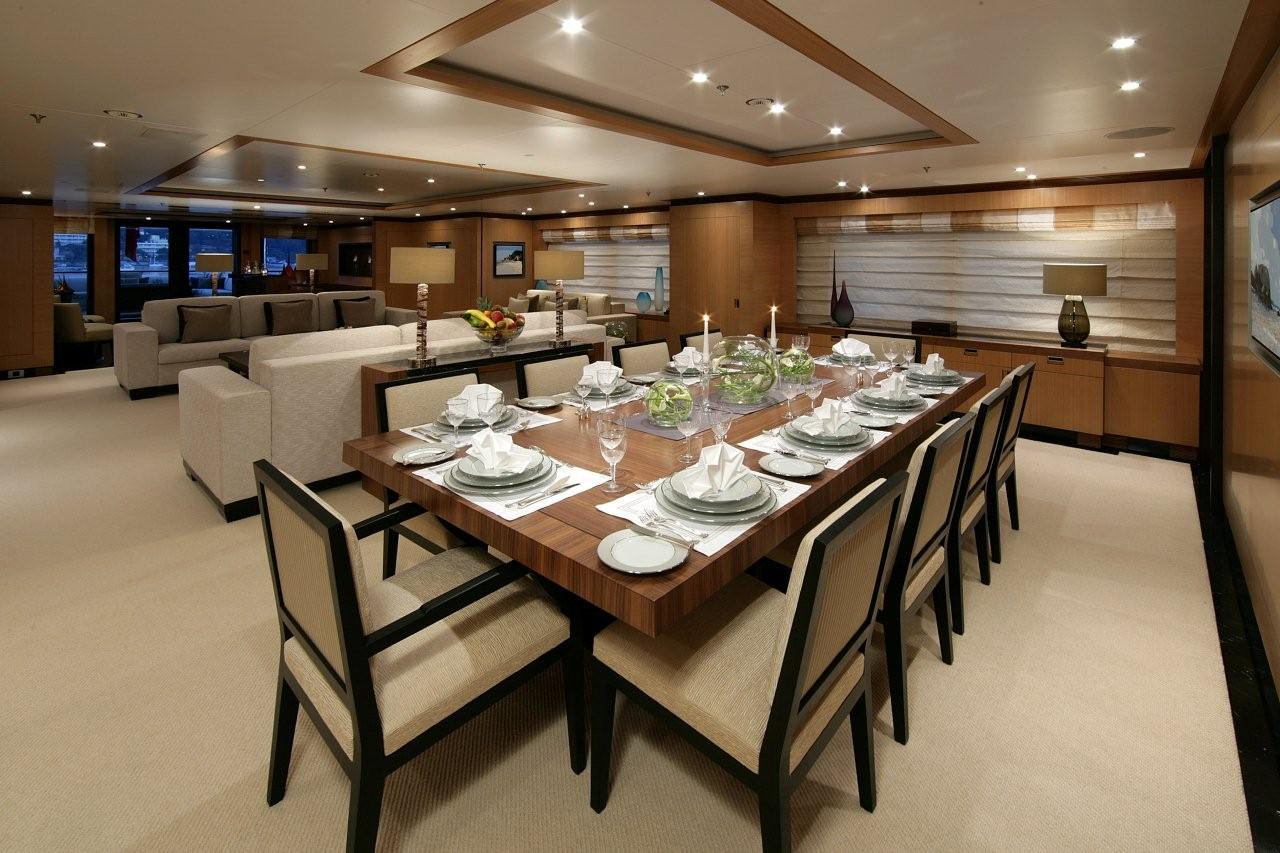 Amnesia s formal dining room superyachts news luxury for Big dining room ideas
