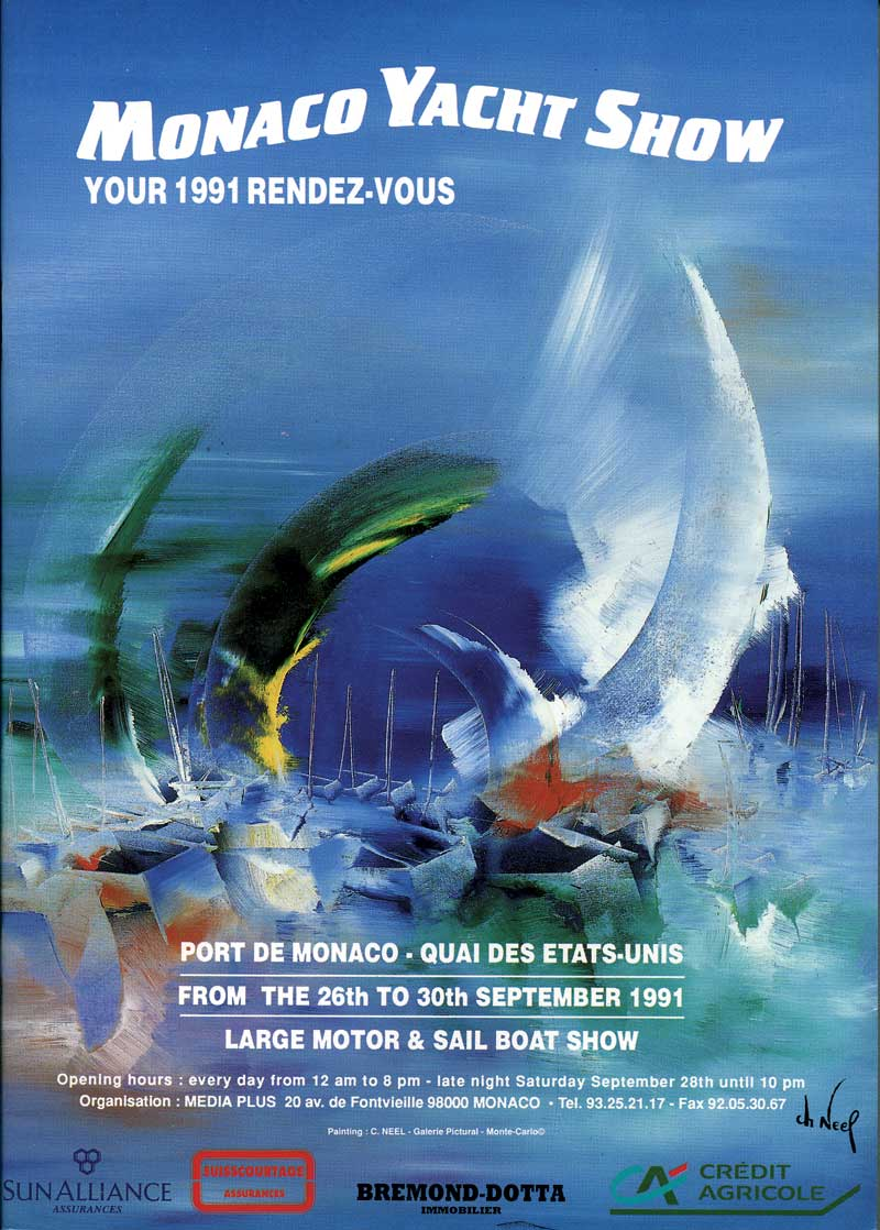 The First Monaco Yacht Show Poster 1991 Superyachts