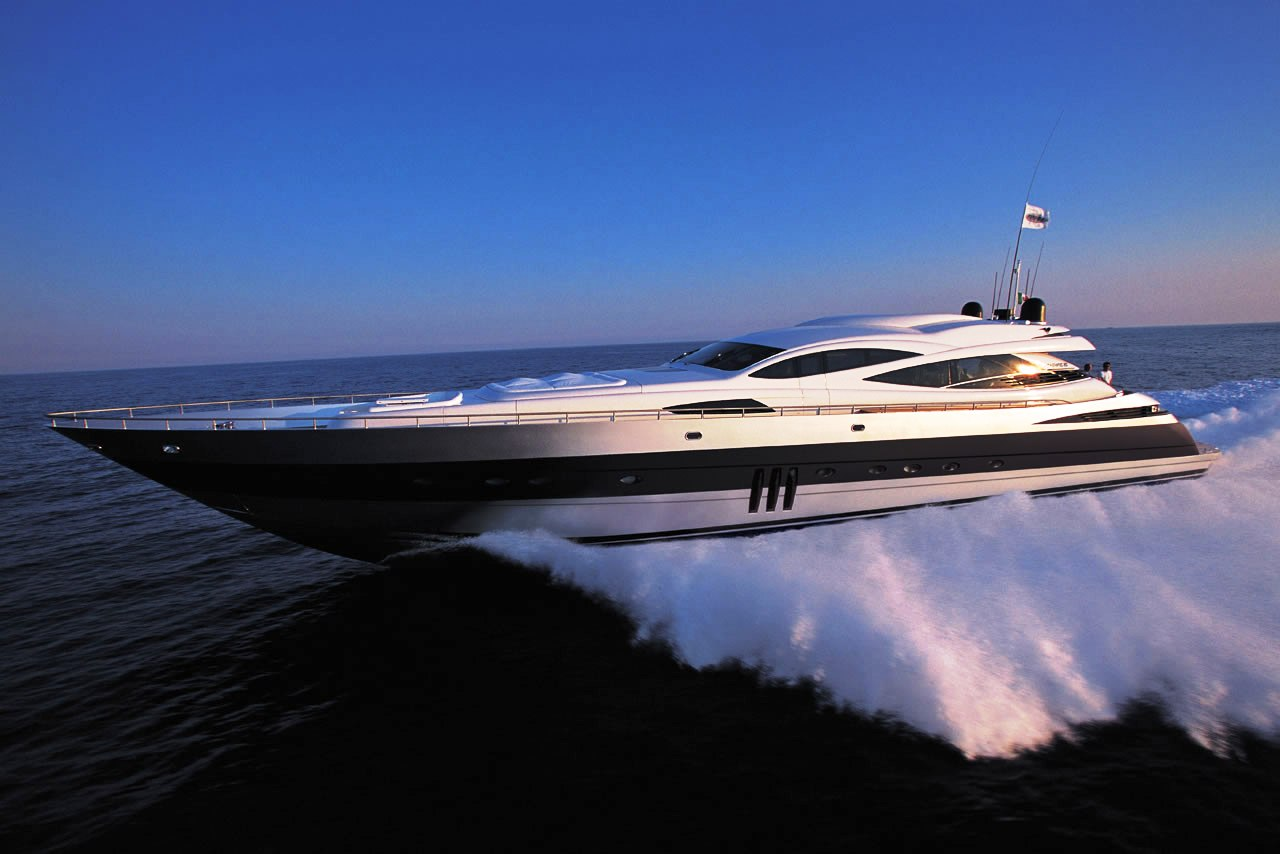 The flagship Pershing 115 performance motor yacht underway. What a beauty!