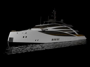 View large version of image: The SABDES 50m Axebow motor yacht design