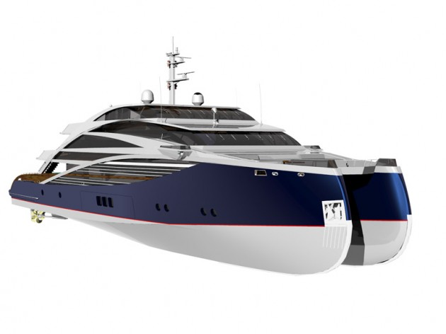 View large version of image: Axe Bow of the Sabdes Cat 50 superyacht