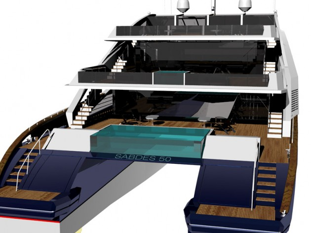 View large version of image: Cat 50 stern by SABDES yacht design