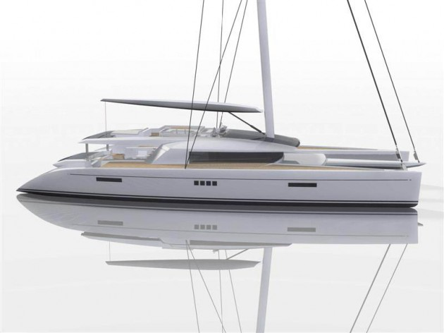 View large version of image: Profile of the Luxury Catamaran CODE E Yacht Design