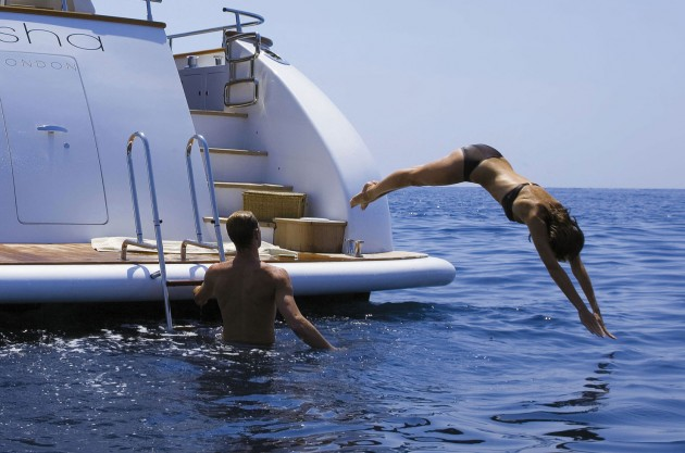 View large version of image: Girl Diving Off Yacht