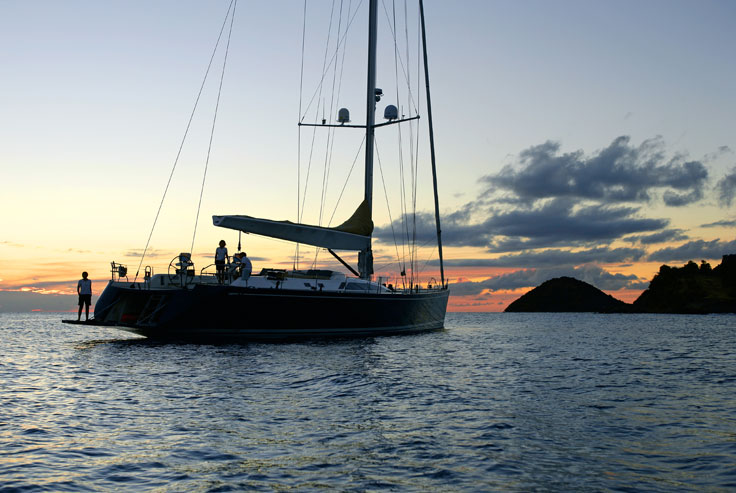 View large version of image: SWAN 100 S Sailing Yacht At Sunset
