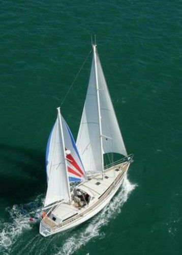 View large version of image: AMEL sailing broad reach with a mizzen balooner