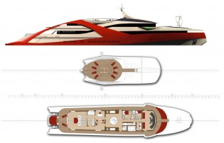 View large version of image: Ostria 71.90 m motor yacht design