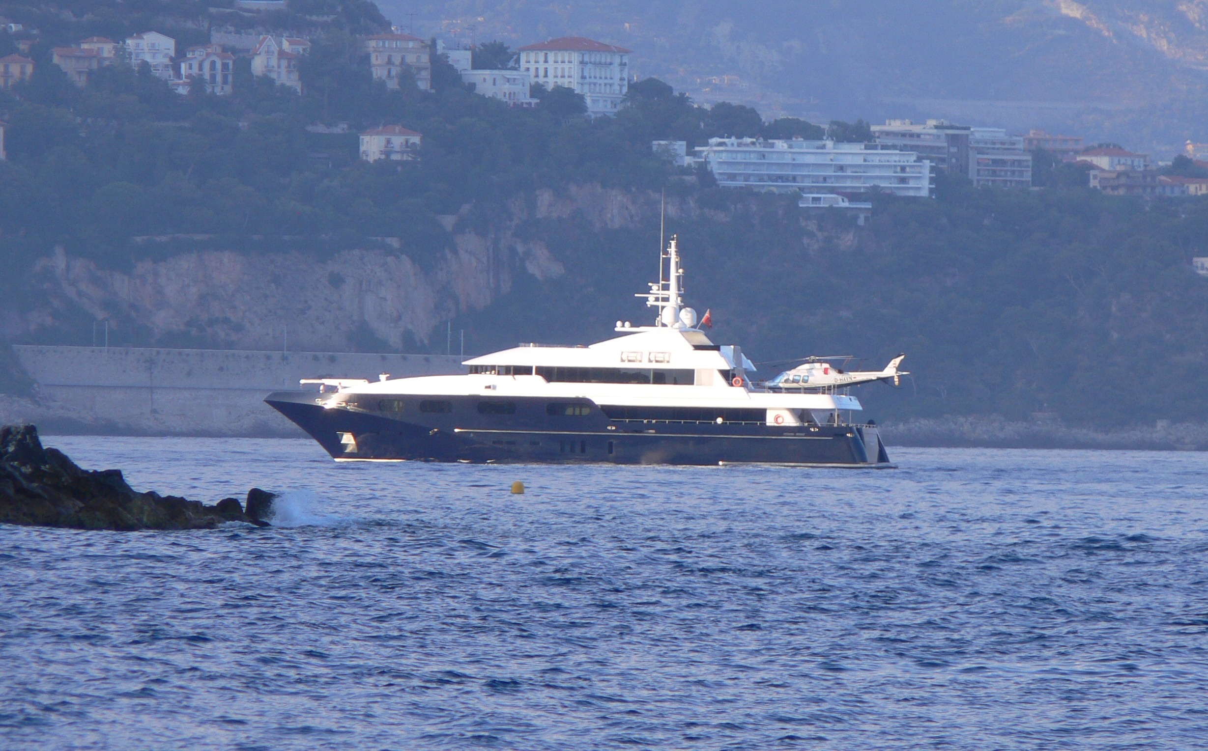View Large Version Of Image Superyacht And Helicopter Entering Port Monaco