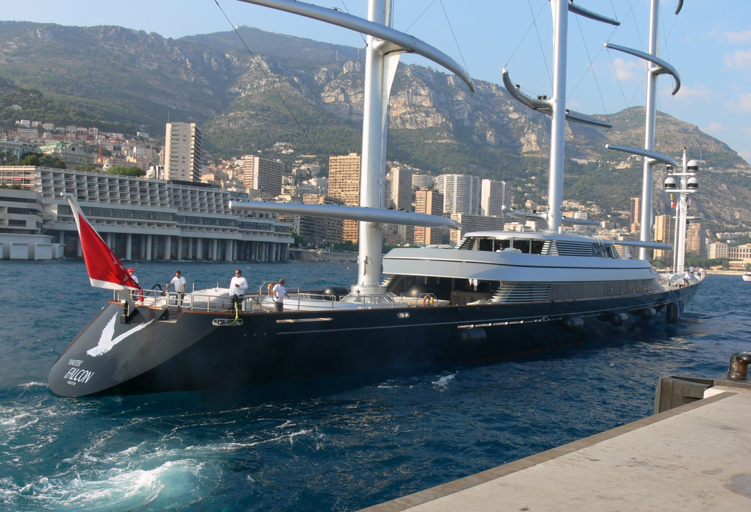 ... yacht: MALTESE FALCON seen here arriving in Monaco for the Yacht Show