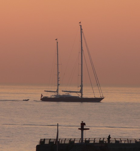 View large version of image: A Perini Navi Ketch at Sunrise