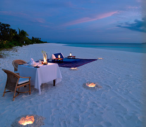 Sunset at the Amanpulo Luxury Resort
