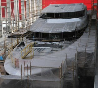 View large version of image: Motor Yacht Red Square - New Build update from Dunya Yachts