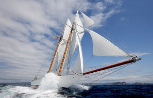 View large version of image: Ancasta Yachts schooner sailing yacht 'Elena' is set to steal the Antibes Boat Show