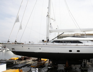 View large version of image: On the 24th of April the 45 metre Perini Navi superyacht FIVEA will be launched