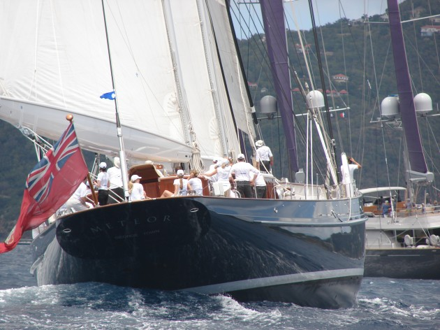 View large version of image: 2009 winner Meteor seen here Trailing The Perini Navi Barracuda in the 15th annual St. Barths Bucket Regatta 2010.