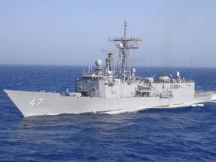 View large version of image: Navy Warship USS Nicholas captures pirates & confiscates mother ship
