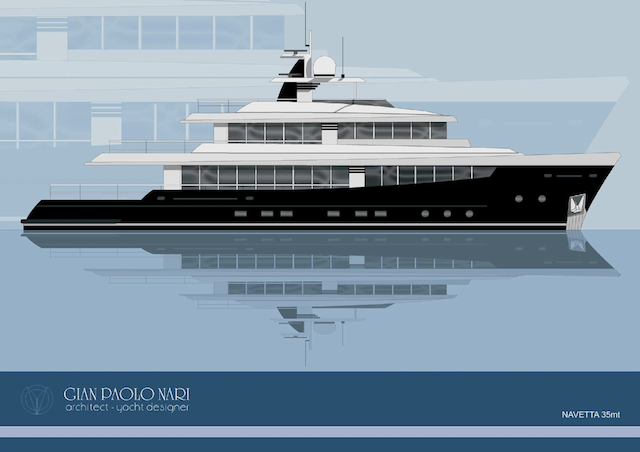 The 35 metre yacht has a traditional layout, with the main saloon, .