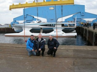 View large version of image: Green Yacht PlanetSolar is launched in the Baltic Sea, Germany.