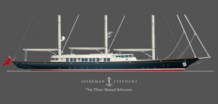 View large version of image: A 75m Luxurious Bermuda-rigged Schooner From Sparkman & Stephens
