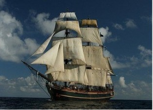 View large version of image: Sailing Ship HMS Bounty : A Luxurious Ship Come Sailing Yacht