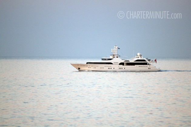 View large version of image: Feadship Sussuro gently heading back to Port Vauban