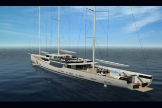 View large version of image: 100m Design Unlimited / Reichel Pugh sailing yacht unveiled at Monaco Yacht Show 2010
