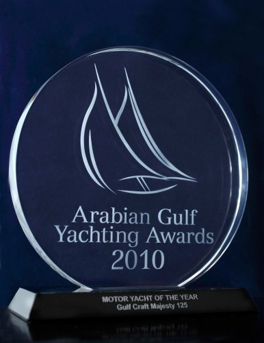 View large version of image: Gulf Craft's Majesty 125 wins Motor Boat of the Year in the Arabian Gulf Yachting Awards 2010