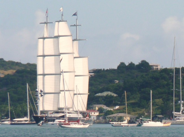 View large version of image: Maltese Falcon Sailing from Falmouth Harbor, Antigua