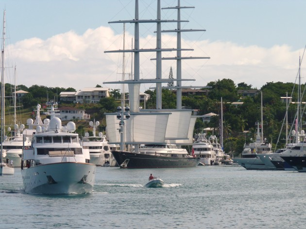 View large version of image: Maltese Falcon Setting Sail from Falmouth Harbor Marina, Antigua 2010