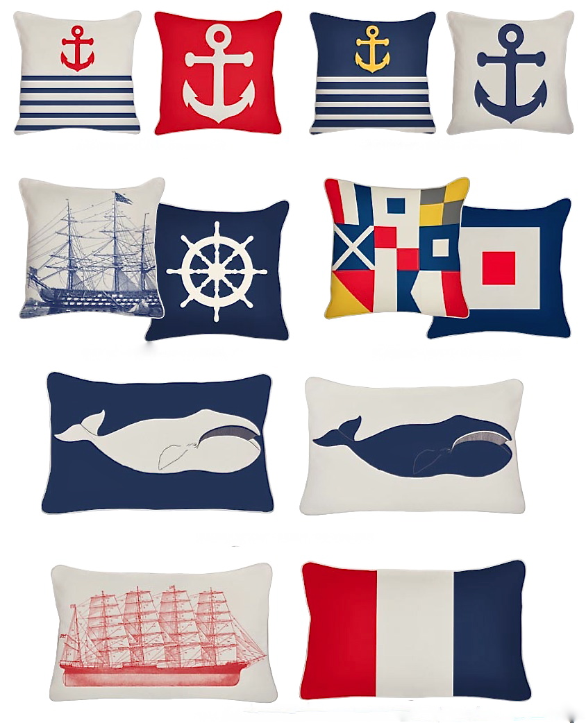 View Large Version Of Image: Indoor/Outdoor Nautical Throw Pillows From  Thomas Paul