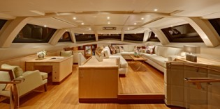 View large version of image: 45m Lady B, recently launched with a Rhoades Young Design interior