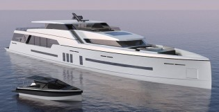View large version of image: 47m yacht and 8m yacht tender created by C.Way Pty and Imaginocean Yacht Design