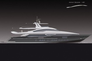 View large version of image: Works on the 42m planing yacht Azimut Grande 140 started