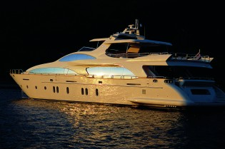 View large version of image: 2012 Miami Boat Show with 35.5m Grande 116 Cinque yacht by Azimut on display