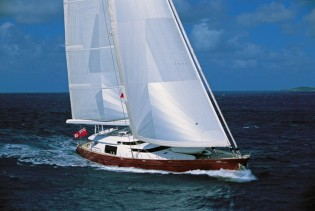 View large version of image: 48.5m charter yacht Georgia by Alloy Yachts wins the first race of the 2012 Millennium Cup