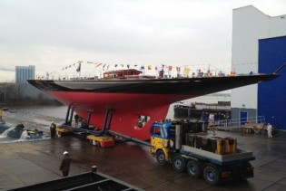 View large version of image: Holland Jachtbouw 40m J-class Rainbow Yacht successfully launched
