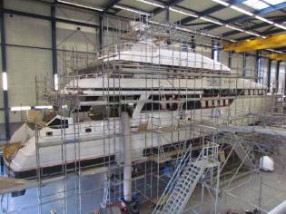 View large version of image: Refit of the 93m yacht Eos and the 40m yacht Be Mine by Royal Husiman well underway
