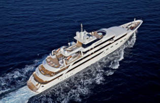 View large version of image: 82m Mitsubishi motor yacht O'MEGA for charter during Cannes Film Festival and Monaco Grand Prix