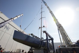 View large version of image: 50m yacht Better Place by Wally Yachts ready to be launched