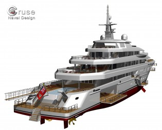 View large version of image: Cruse designed 90m motor yacht OPEN & CLOSE concept