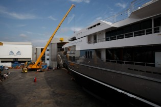 View large version of image: The pre-launch of the 72m megayacht Stella Maris by VSY-Viareggio Superyachts