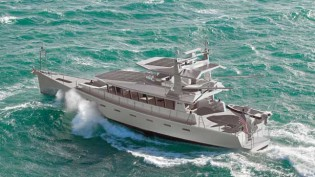 View large version of image: The first FPB 97 yacht by Dashew Offshore under construction