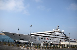 View large version of image: Lurssen luxury yacht TOPAZ arrives in the Mediterranean