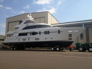 View large version of image: New 120' Tri-Level Yacht by Ocean Alexander ready to be launched