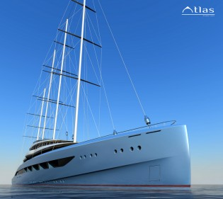 View large version of image: H2 and Laurent Giles designed 110m megayacht Project Atlas