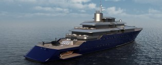 View large version of image: Adam Lay designed 98m megayacht ORBIS concept
