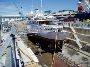 View large version of image: Refit of the 58m luxury charter yacht Lady K II at Solent Refit