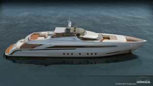 View large version of image: New 45m Heesen Superyacht with design by Omega Architects under construction