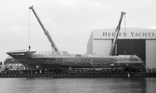 View large version of image: Hull and superstructure of the 50m Heesen superyacht Project Azuro joined together